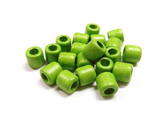 Greek Ceramic Bead Spacer Large Hole Tube Slider Green Matte