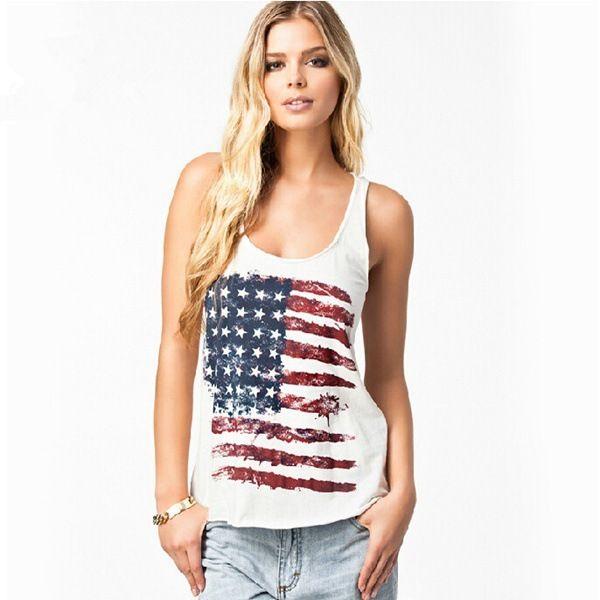 CAMISETA BANDEIRA AMERICANA - Camiseta em malha com estampa da bandeira americana.