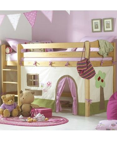 turn a bunk bed into a cute play house...Syd would sleep in the playhouse every night!