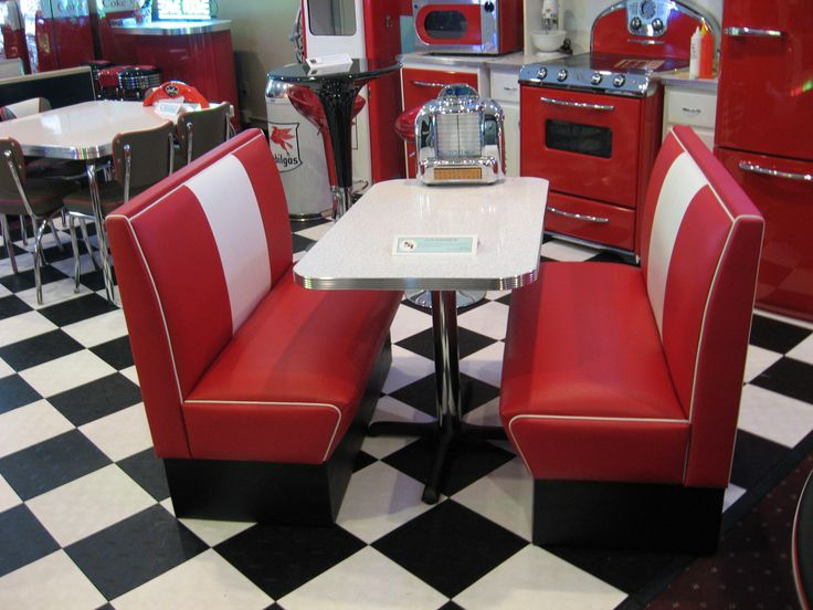 Black and white 50 39 s diner cruiser diner booth set 50s - Kitchen table booth seating ...