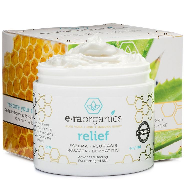 Era Organics Eczema & Psoriasis Cream 4oz Advanced Healing Moisturizer for Dry, Sensitive Skin with Aloe Vera, Shea Butter, Manuka Honey & More. Non-greasy Treatment for Instant & Long Term Relief