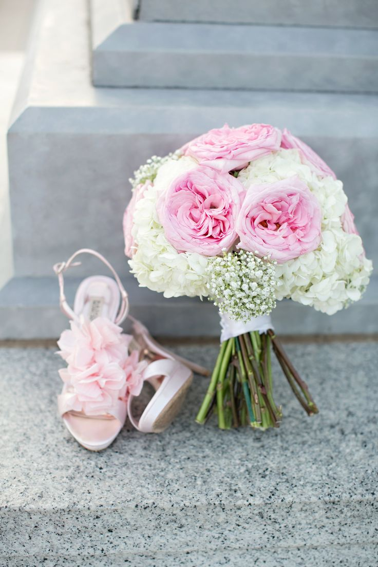 ivory hydrangeas pale pink garden roses ad accents of babys breath give this bouquet a