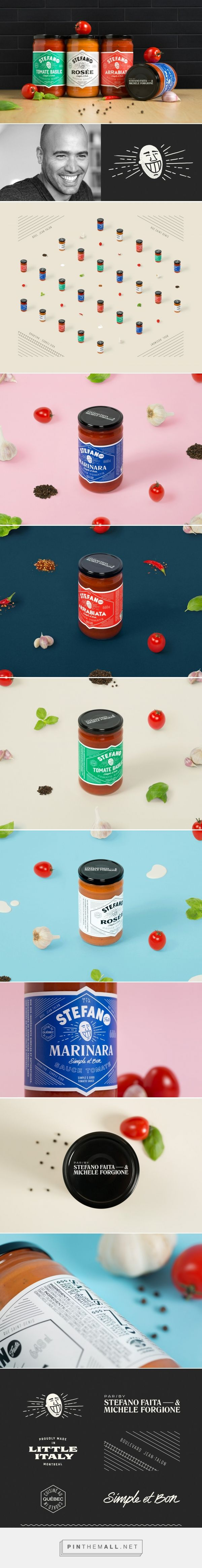 Stefano sauce packaging design by Lg2 - http://www.packagingoftheworld.com/2017/11/stefano.html