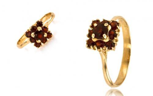 Dámsky prsteň ČESKÝ GRANÁT žlté zlato