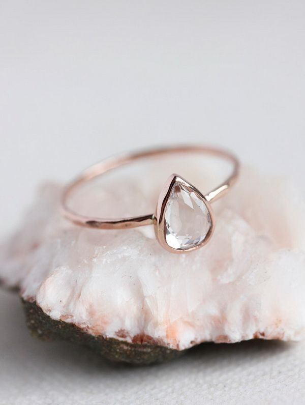 rose gold pearl shape topaz wedding engagement rings
