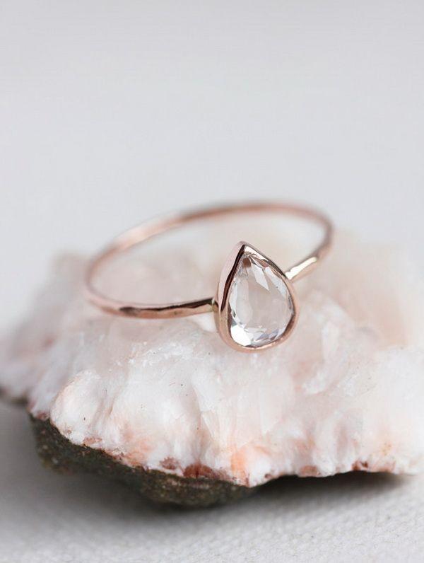 rose gold pearl shape topaz wedding engagement rings