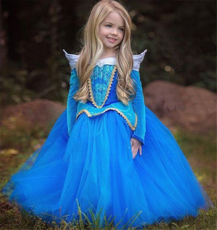 2016 Bela Adormecida Aurora Princesa Luva Cheia de Moda Vestido Da Menina para Crianças Meninas Vestido de Festa Meninas do Dia Das Bruxas Cosplay(China (Mainland))