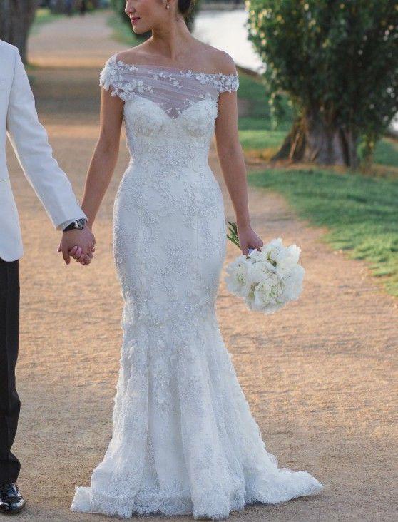 3c8d69009096 Used Steven Khalil Custom Made wedding dress for US$4,600. Save 50% on this  size US 2 floor length, mermaid dress & off the shoulder neckline.