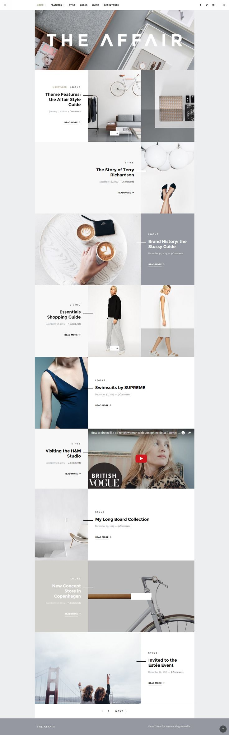 The Affair - Creative Theme for Personal Blogs and Magazines  The Affair is a clean responsive Wordpress Theme for personal blogging and magazines.  Enjoy the minimalist look, well-thought typography and various post format options, including slideshows, galleries, featured text and images.
