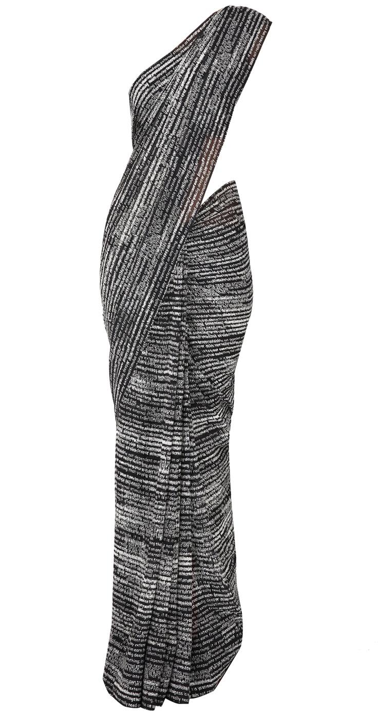 Black and white newsprint sari in georgette by SATYA PAUL. Shop at https://www.perniaspopupshop.com/whats-new/satya-paul-1