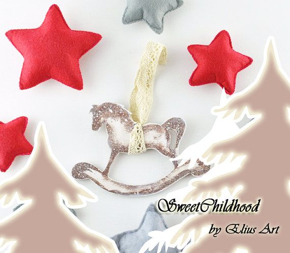 Set 4 Rustic Wooden Rocking Horse ornament by SweetChildhood