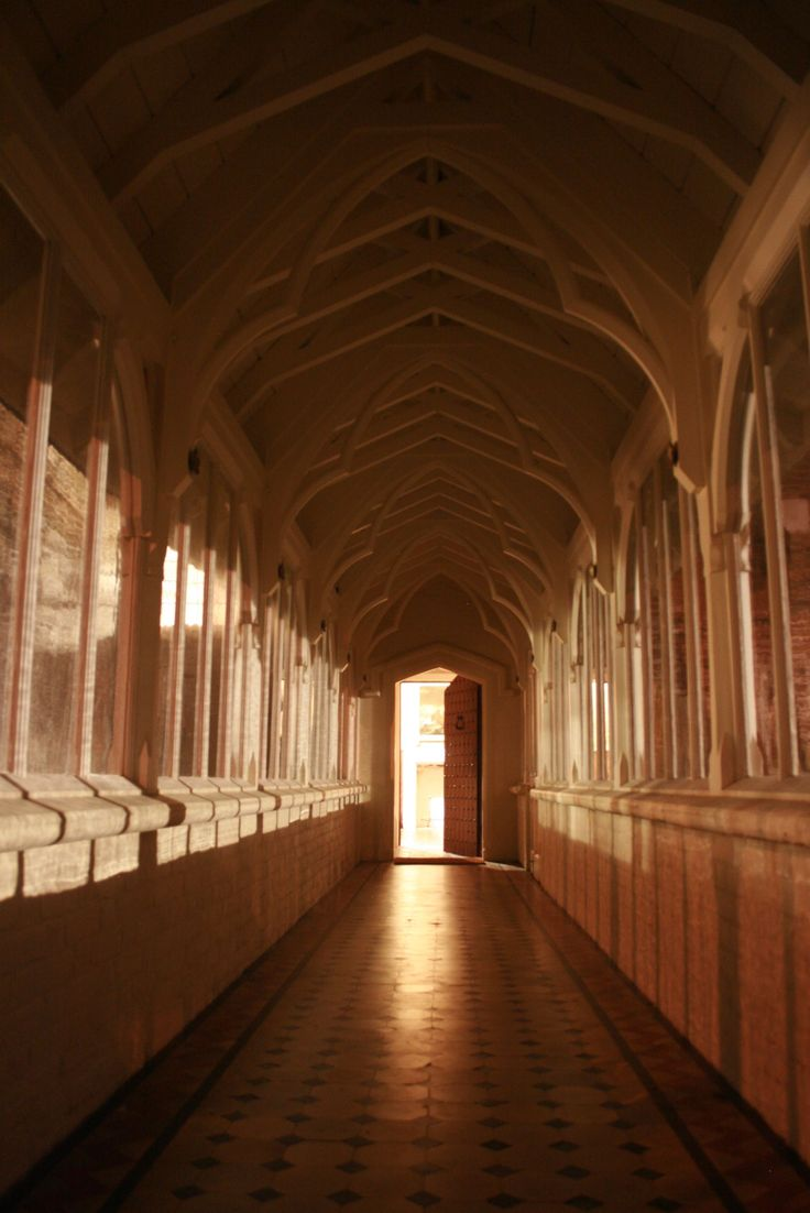 This long, glass enclosed hallway with its medieval-style door leads to the private lawn on Pugin's property.
