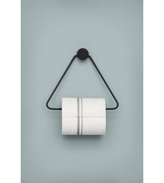 Ferm Living WC rol houder zwart metaal 17x5x15cm - wonenmetlef.nl