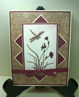 handmade card ... Asian theme ... neutral colors ... dragonfly and flowers ...