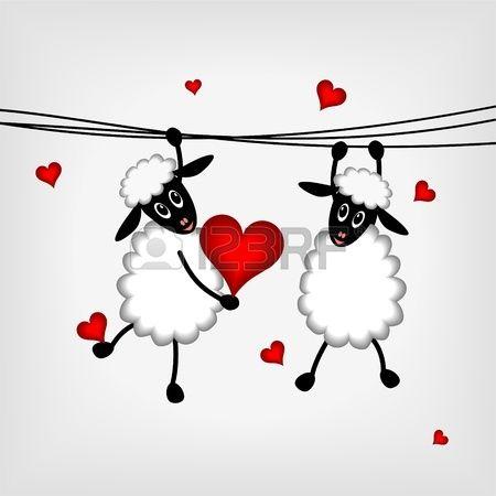 twee schapen opknoping op waslijn en holdin rood hart - vector illustratie