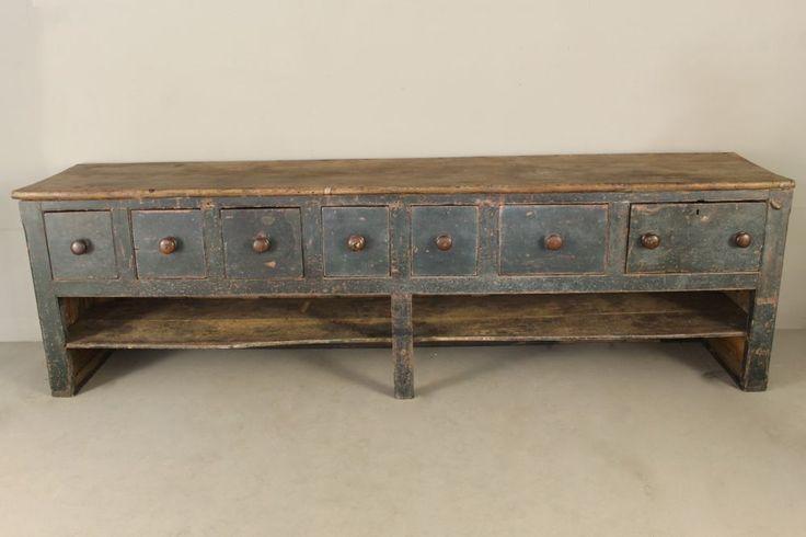 George III Original Blue Painted Pine Dresser / Shop Counter