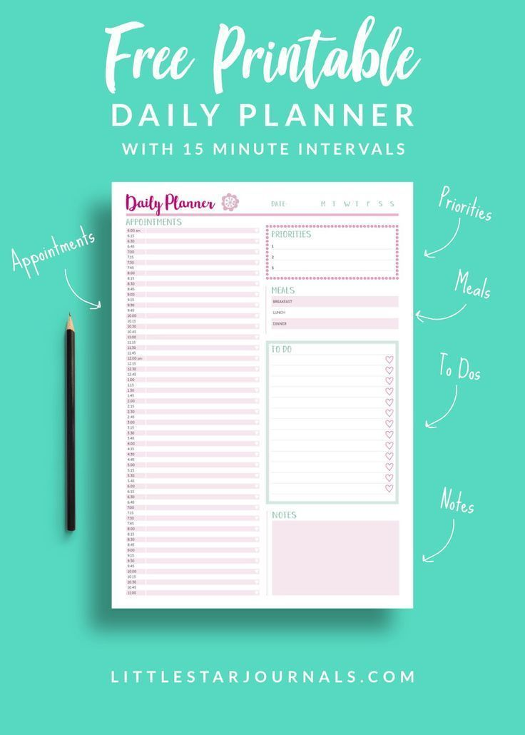 It is an image of Free Printable Daily Planner 15 Minute Intervals intended for downloadable