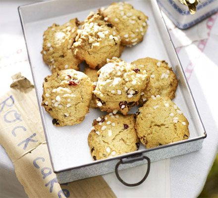 Sugar & spice rock cakes.  Well, what do you know?   Mom used to make rocks with raisins and I never gave it a second thought to look for a recipe.  They are kind of like a fat heavy cookie.  I always liked them