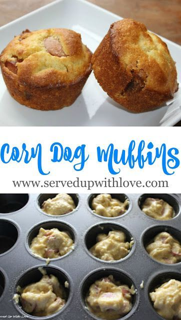 Corn Dog Muffins recipe from Served Up With Love. Perfect for the kids lunch or a treat after the dreaded homework. www.servedupwithlove.com