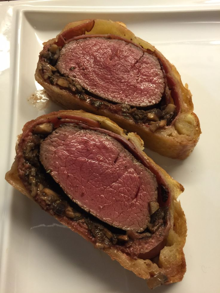 Sika deer wellington with wild mushrooms and wild boar prosciutto