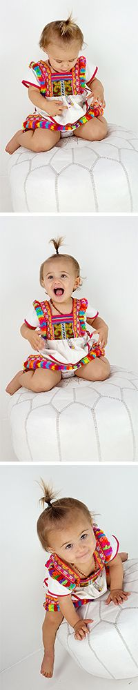A gorgeous ethnic Hill Tribe designed dress with stunning tapestry feature + rainbow fringing - this one could just as soon belong on the wall as a work of art, as on your little twirling ballerina! A precious dress to hold onto long after her pirouetting days are over <3