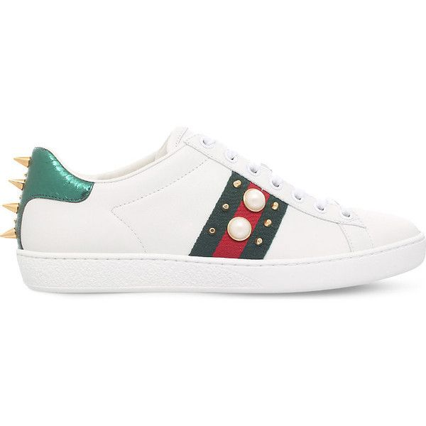 Gucci New Ace pearl and stud-detail leather trainers ($555) ❤ liked on Polyvore featuring shoes, sneakers, studded sneakers, studded shoes, spike studded sneakers, striped sneakers and metallic sneakers