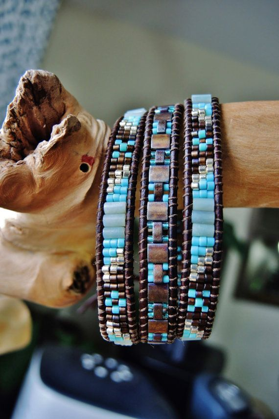 JR. Creme de MENTHE Triple Wrap Antique Brown Leather Bracelet, Aqua Amazonite, Miyuki Japanese Delica, Half & Full Tila Beads,Silver Button