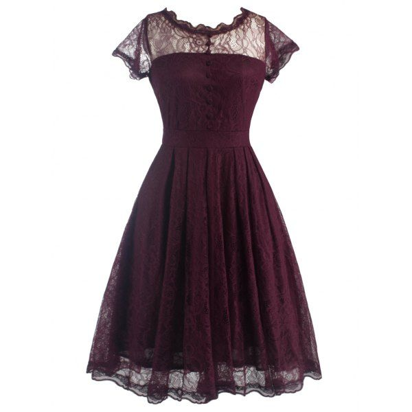 Lacey dresses are adorable.  I really love the combination of lace and fake button work on this one!