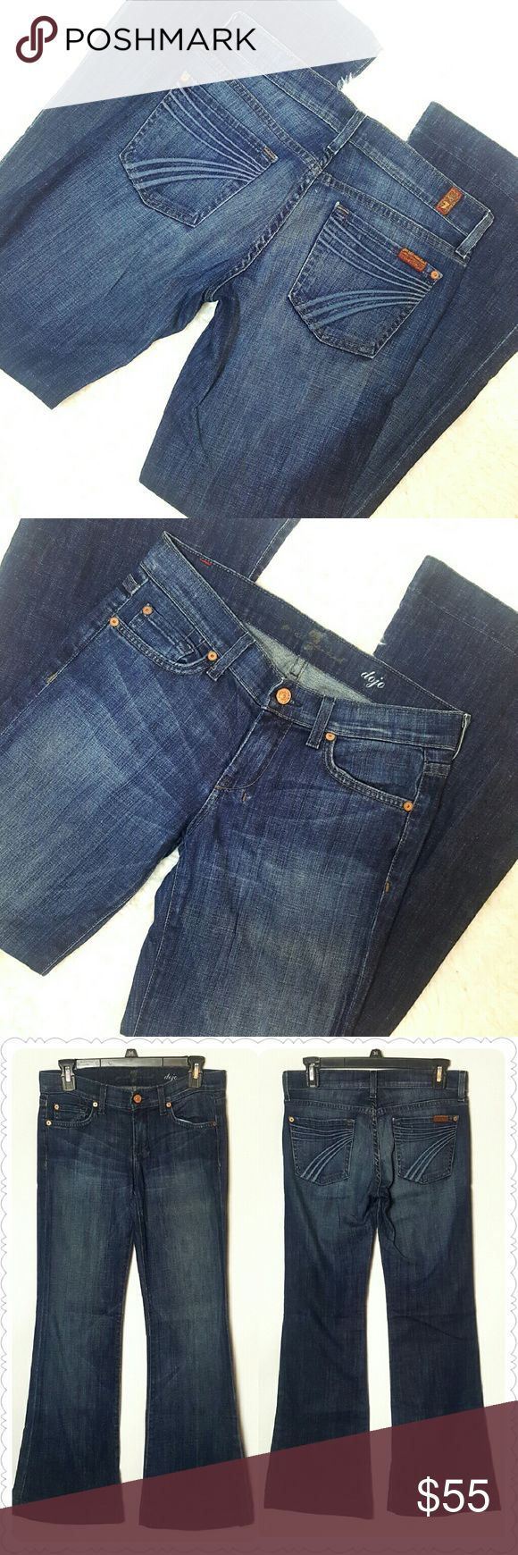7FAM Dojo Flare Leg Jeans Size 26 7 for all mankind dojo flares Size 26 Great condition!  Inseam: 30 inches Rise: 7 inches Material pictured 7 For All Mankind Jeans Flare & Wide Leg
