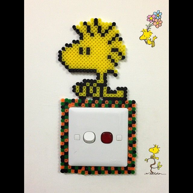 Woodstock light switch cover perler beads by lotsolotso_lotsofamily
