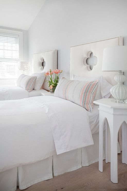 Those headboards! Christopher Home Furnishings - bedrooms - White Glass Ripple Lamp, sloped ceiling,