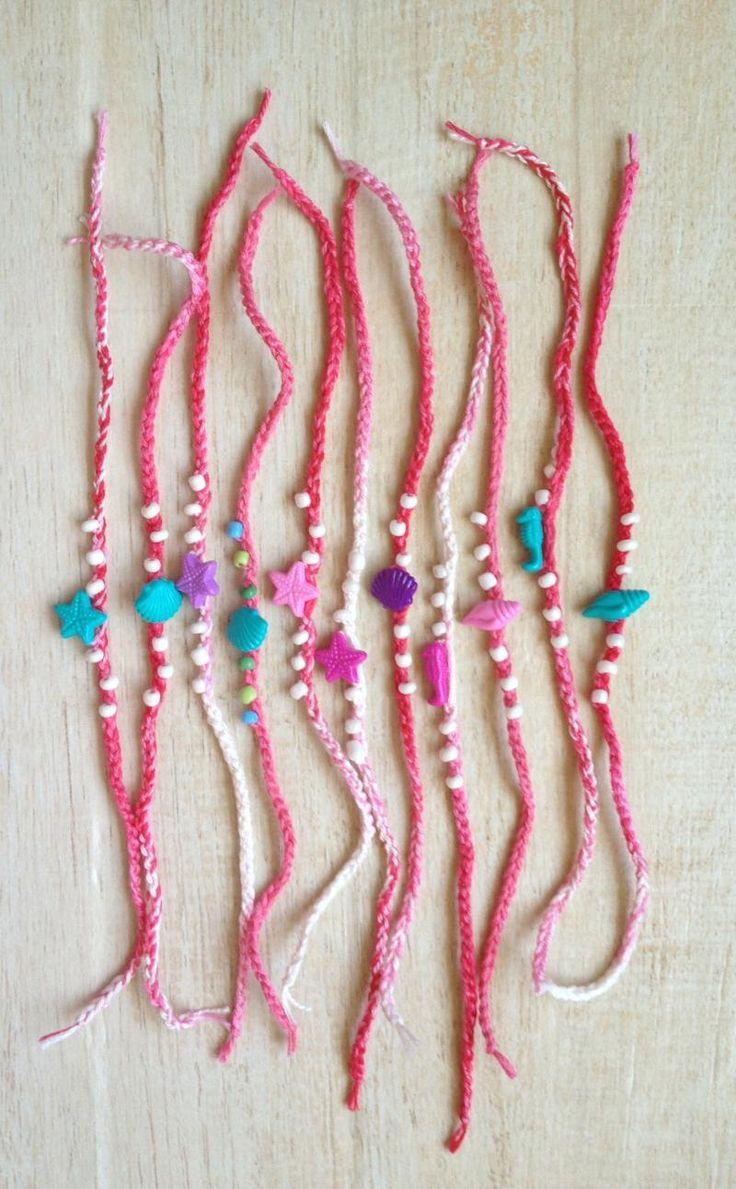 Friendship Bracelets Crochet Pink, Mermaid Costume, Birthday Party Favor Shell Starfish Seahorse Beach Ocean Summer Child Preteen Teen Adult by BeachDaisyJewelry on Etsy https://www.etsy.com/listing/243424916/friendship-bracelets-crochet-pink