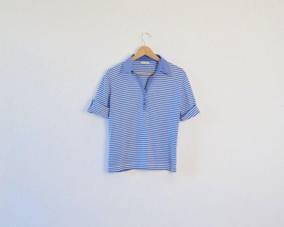 Vintage Striped T-Shirt  Vintage Nautical Tee  by ElsieMoonVintage