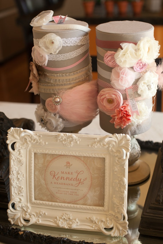 Image of 25 Count Pink Shabby Chic Headband Kit - Baby Shower