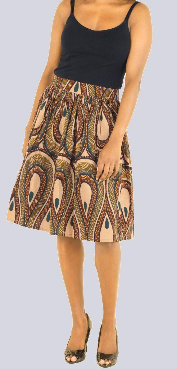 Skirt, African Print Skirt, Tribal Print Skirt, Aline skirt
