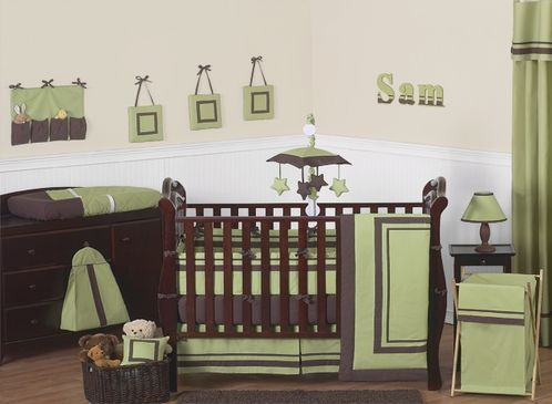 Green and Brown Hotel Modern Baby Bedding - 9 pc Crib Set - Click to enlarge