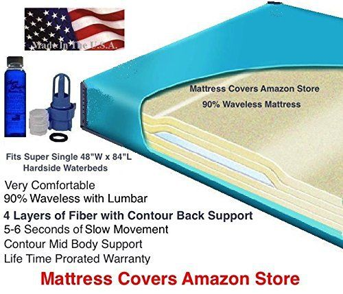 If you are replacing a super single waterbed mattress also known as a California twin then this mattress is an excellent choice. This 80% Semi waveless mattress is very comfortable and popular because it has 3 layers of super soft fiber running from head to foot along with an extra double layer... more details available at https://furniture.bestselleroutlets.com/bedroom-furniture/mattresses-box-springs/waterbed-mattresses/product-review-for-super-single-90-waveless-waterbed-m