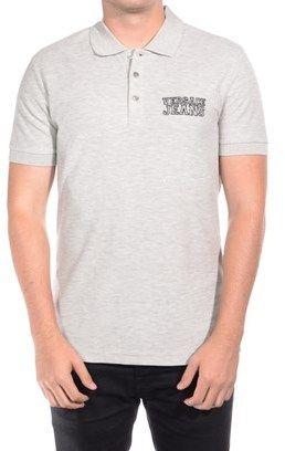 Versace Men's Cotton Vjc Logo Cotton Polo Shirt Heather Grey.