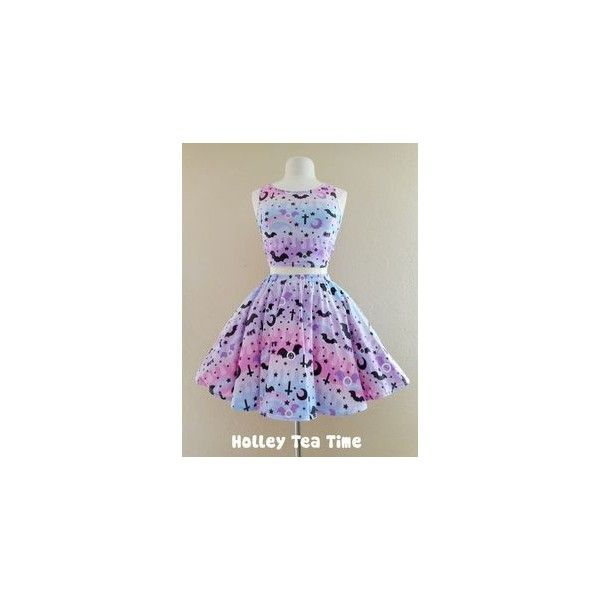 Graveyard Shift Printed Skater Dress (Bats, Moons, Stars) Fairy Kei... via Polyvore featuring dresses, sparkly dresses, pastel purple dress, plus size purple dress, goth dresses and gothic lolita dress