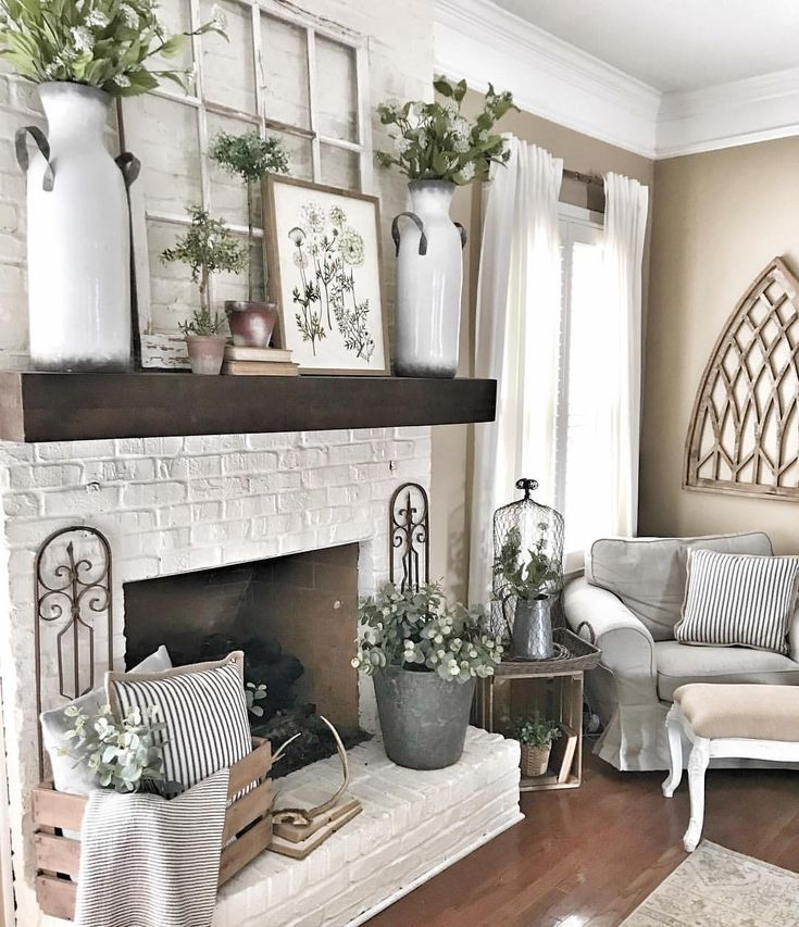 Neutral Living Room With Traditional Fireplace In 2019: Warmth!!!! Not All White, Yet Neutral And Soothing