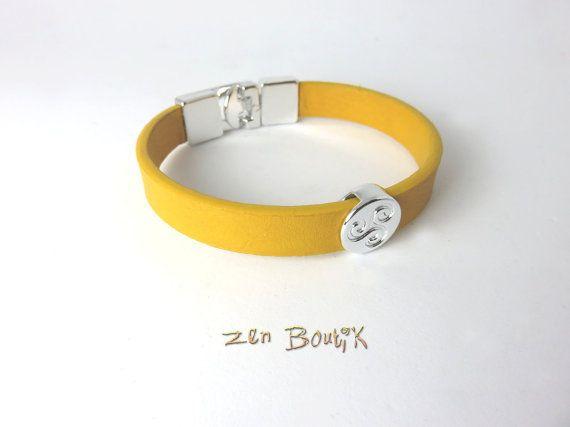 Bracelet Homme Cuir Triskel Bracelet Zen Cuir Jaune par ZenBoutik