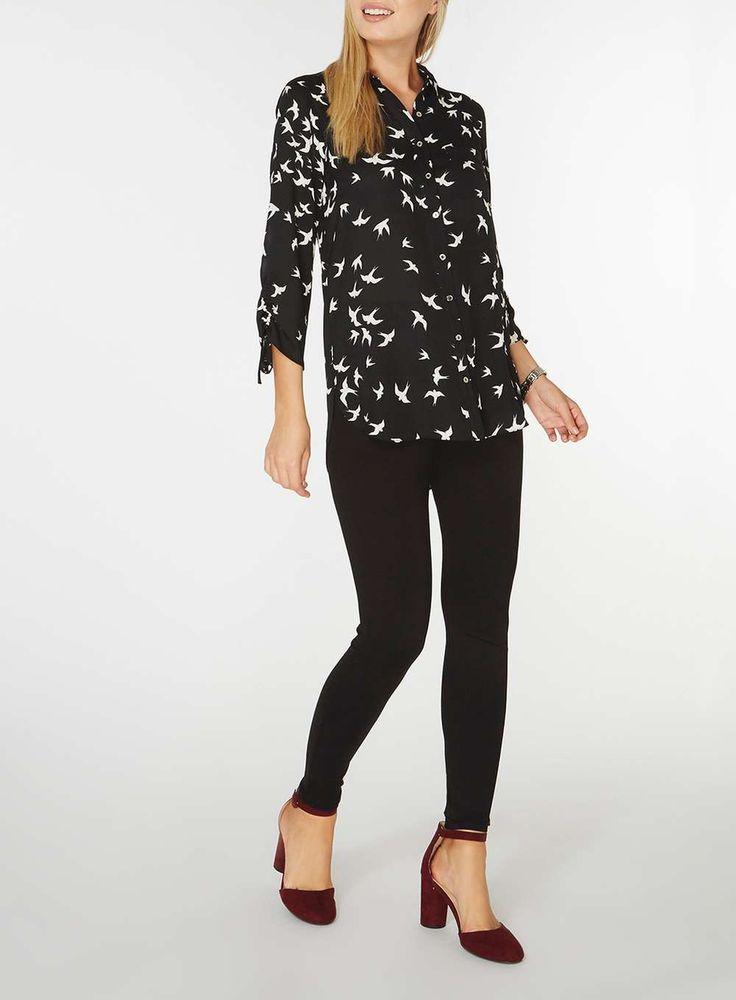 Womens Black Bird Print Shirt- Black