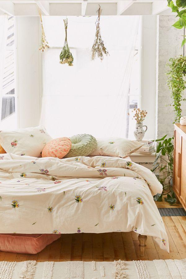 Georgine Embroidered Floral Duvet Cover Floral Duvet Cover Duvet Covers Urban Outfitters Urban Outfitters Bedroom