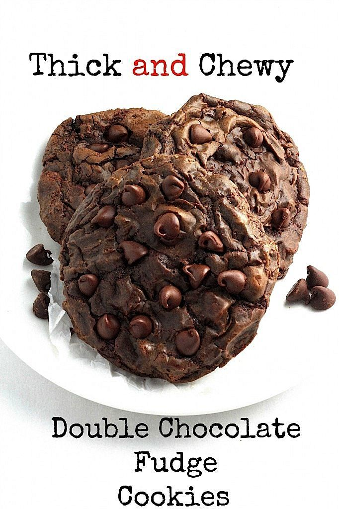 Soft Batch Double Chocolate Fudge Cookies - these are so thick, fudgy, and delicious!