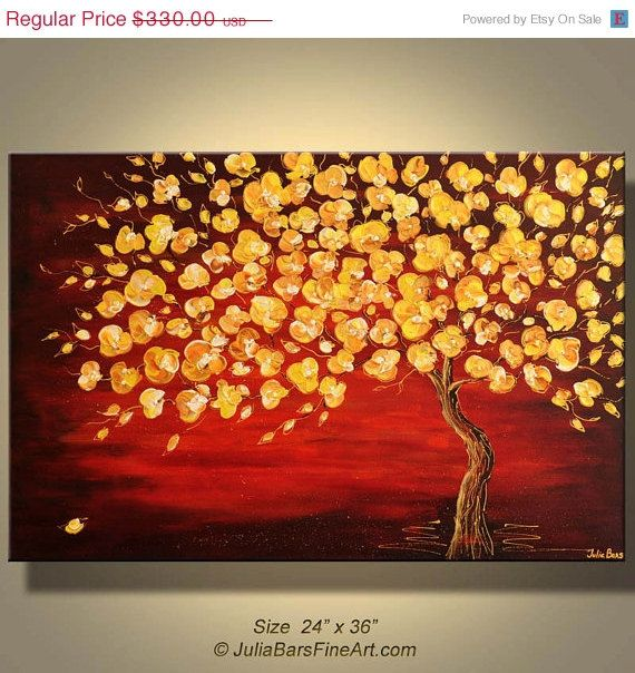 ON SALE Original Autumn Landscape Painting Abstract Golden ...