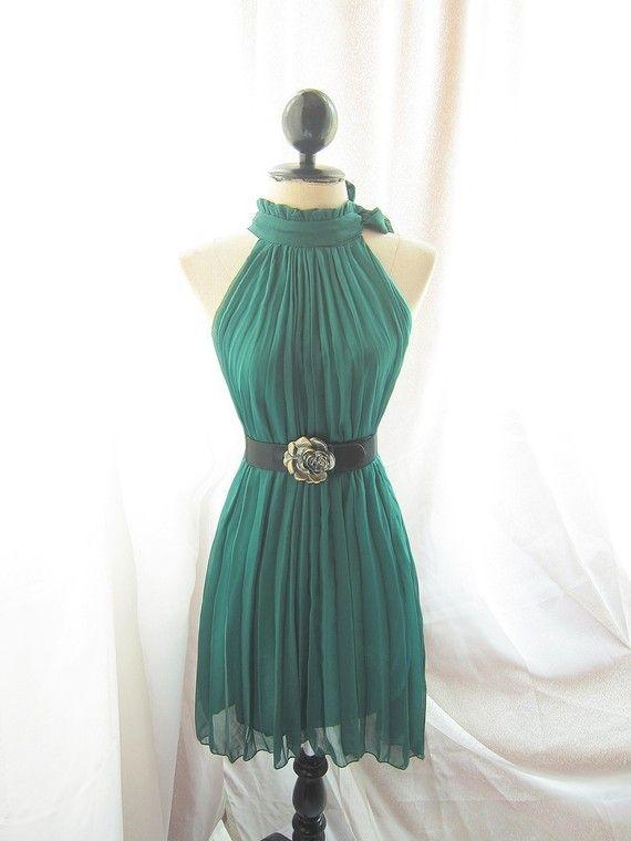 Classic Forest Green Havisham Romantic Spring Nature Chiffon Secret Garden Twilight Dress