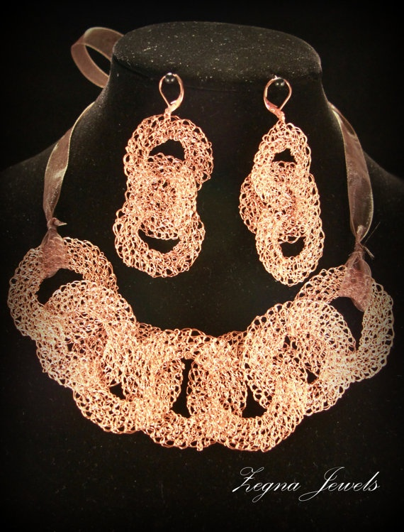Copper wire Crocheted statement necklace and by ZegnaJewelry. Alisa