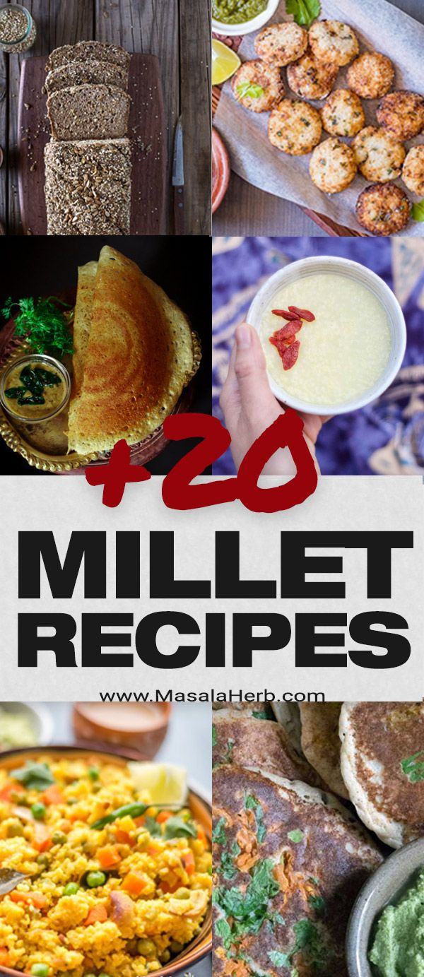 +20 Millet Recipes - Sustainable and Healthy Ancient Grain - collection of various millet breakfast recipes, millet dinner recipes, millet bread recipes, millet appetizer and snack recipes, What is millet, how to cook millet, why is millet important for the world? www.MasalaHerb.com #millet #ancientgrain #masalaherb