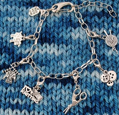 Knitter's Charm Bracelet with Detachable Progress Keepers