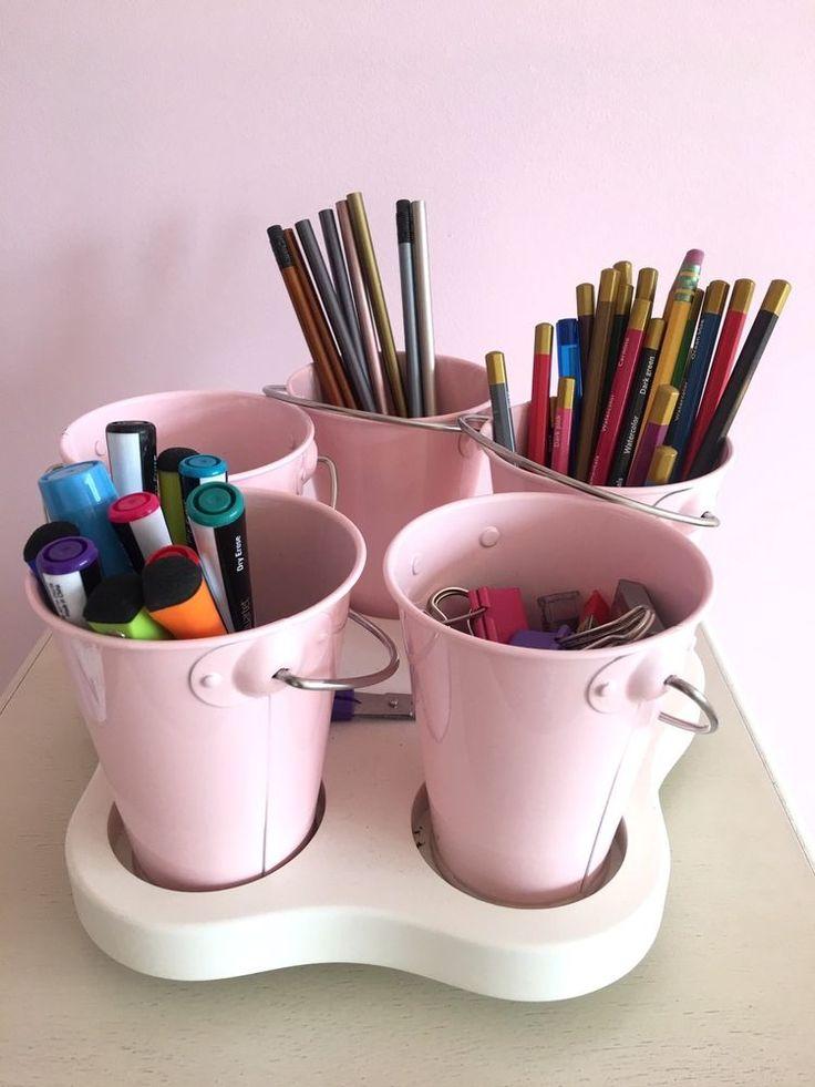 Pottery Barn Kids White Lazy Susan Amp 5 Pink Mini Buckets